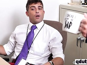 Lucky guy gets cock sucked by two studs in office