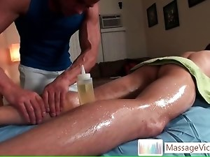Cute guy oiled up for massage part6